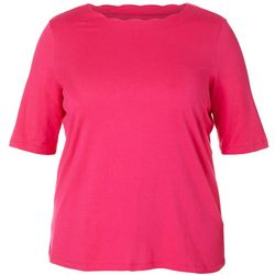 Plus Scalloped Boat Neck Solid Top