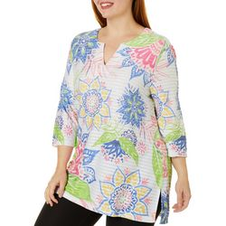 Coral Bay Plus Floral Print Textured Tunic Top