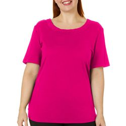 Coral Bay Plus Solid Braided Round Neck Short Sleeve Top