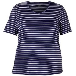 Coral Bay Plus Striped V-Neck Short Sleeve Top