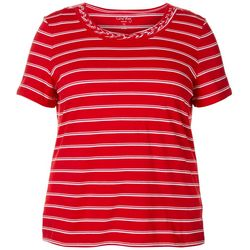 Coral Bay Plus Horizontal Stripe Braided Neckline Top