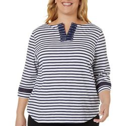 Coral Bay Plus Stripe Embroidered Split Neckline Top
