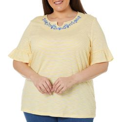 Coral Bay Plus Striped Embellished Split Neck Top