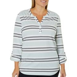 Coral Bay Plus Stripe Print Button Placket Top