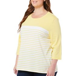 Coral Bay Plus Crochet Stripe Colorblocked Top