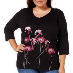 Coral Bay Plus Embellished Festive Flamingos Top
