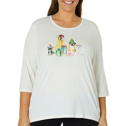 Coral Bay Plus Embellished Jolly Puppies Top
