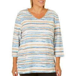 Coral Bay Plus Embellished Faded Stripe Top