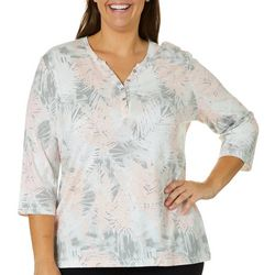 Coral Bay Plus Palm Leaf Print Henley Top