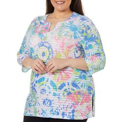 Coral Bay Plus Color Burst Print Textured Tunic Top