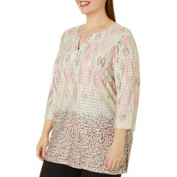 Coral Bay Plus Mixed Animal Print Split Neck Top
