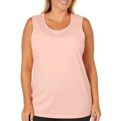 Coral Bay Plus Solid Bling Neck Tank Top