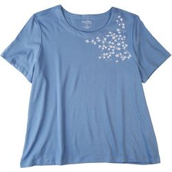 Coral Bay Plus Embroidered Flowers Short Sleeve Shirt