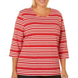 Coral Bay Plus Textured Stripe Print Top