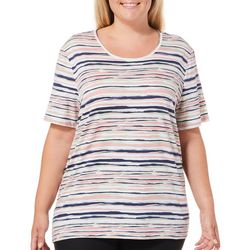 Coral Bay Plus Scratchy Stripe Print Top