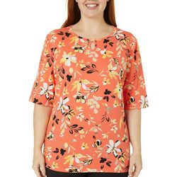 Coral Bay Plus Painted Flowers Keyhole Top