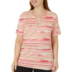 Coral Bay Plus Abstract Print Split Neck Short Sleeve Top