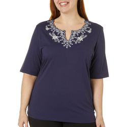Plus Embroidered Floral Scalloped Neck Top
