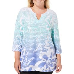 Coral Bay Plus Textured Ombre Floral Split Neck Top