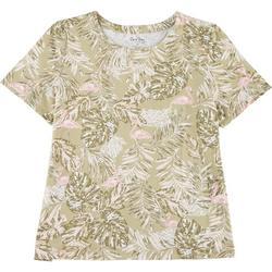 Plus Palm Leaf Flamingo Top