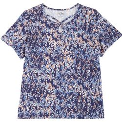Coral Bay Plus Printed Keyhole Short Sleeve Top