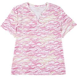 Coral Bay Plus Wavy Stripe Short Sleeve Top