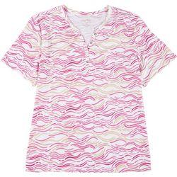 Plus Wavy Stripe Short Sleeve Top