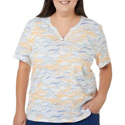 Coral Bay Plus Wavy Stripe Short Sleeve Top