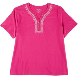 Coral Bay Womens Plus Embroidered Henley Top