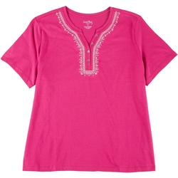 Womens Plus Embroidered Henley Top