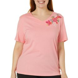 Coral Bay Plus Embroidered Floral Hearts Top
