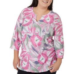Coral Bay Plus Hibiscus Print Textured Tunic Top