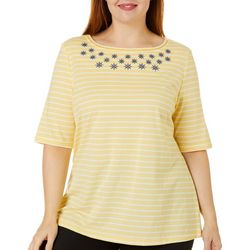Coral Bay Plus Striped Anchor Embellished Top
