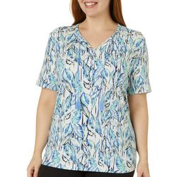 Coral Bay Plus Banana Leaf Print Tied Neckline Top