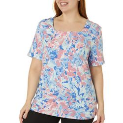 Plus Watercolor Garden Print Square Neck Top