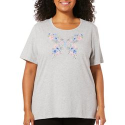 Coral Bay Plus Embellished Floral Butterfly Top