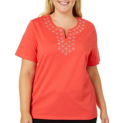 Coral Bay Plus Diamond Embellished Split Neck Top