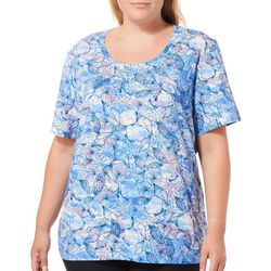 Coral Bay Plus Shell Wave Print Top