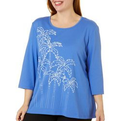 Coral Bay Plus Puff Print Palm Tree Embellished Solid Top