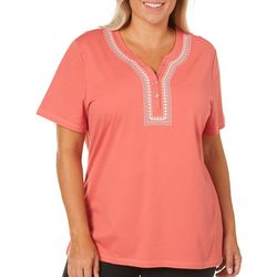 Coral Bay Plus Embroidered Button Placket Top