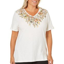 Coral Bay Plus Floral Leaf Print V-Neck Top