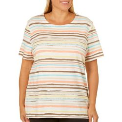 Coral Bay Plus Stripe Print Scoop Neck Top