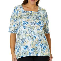 Coral Bay Plus Paisley Leaf Square Neck Top