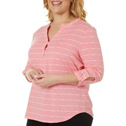 Coral Bay Plus Striped Button Sleeve Split Neckline Top