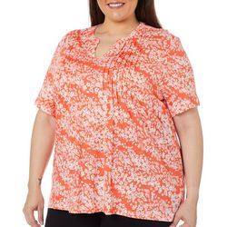 Coral Bay Plus Floral Pleated Short Sleeve Top