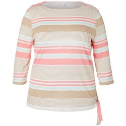 Coral Bay Plus Striped Side Tie Boat Neckline Top