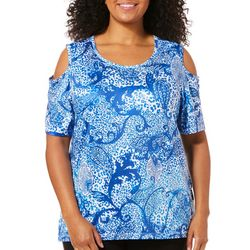 Coral Bay Plus Animal Paisley Print Cold Shoulder Top