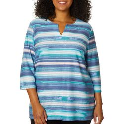 Coral Bay Plus Watercolor Stripe Textured Top