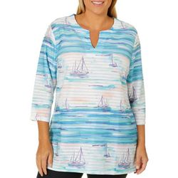 Coral Bay Plus Textured Stripe Sailboat Print Top