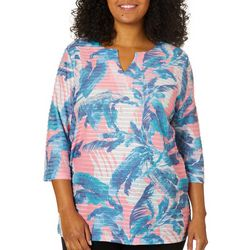 Coral Bay Plus Textured Stripe Palm Print Top